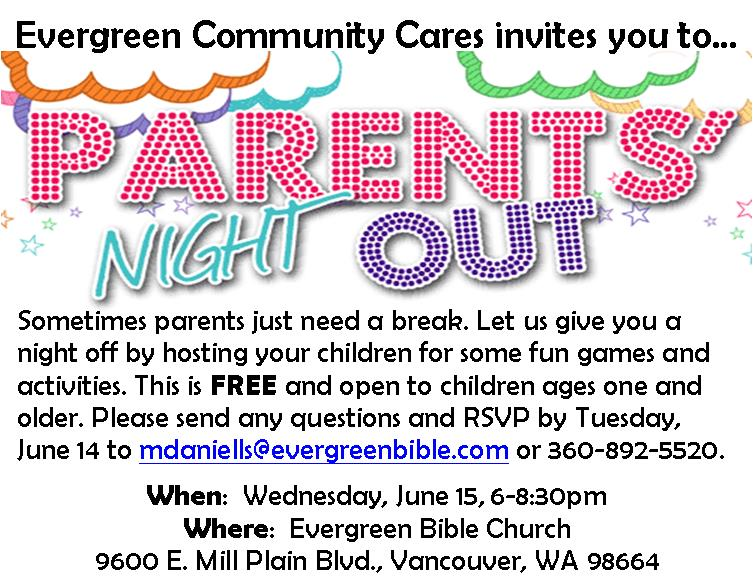 Parents Night Out flyer English